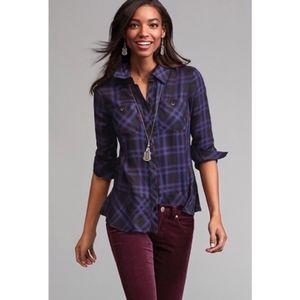 CAbi Flannel Plaid Check Shirt Button Down Medium